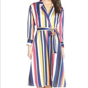 Chelsea28 Navy Stripe Faux Wrap Dress XS